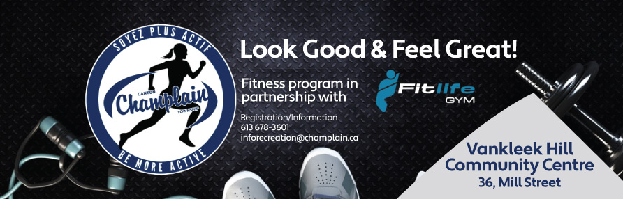 Be more active logo with Fitlife gym logo on a background of fitness