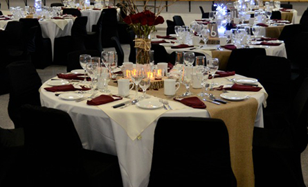 Picture of wedding tables in the community centre