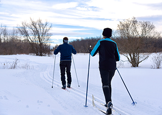 Two people skiing on cross country ski trails
